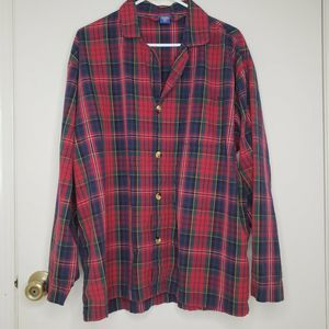 Pendleton XL Red Plaid Cotton Flannel Pajama Shirt